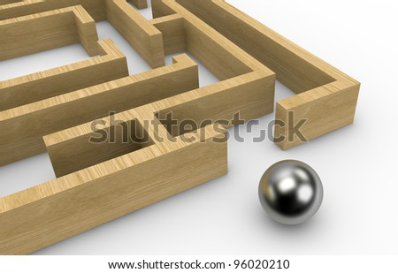 one wooden maze with a sphere on the exit (3d render) - stock photo