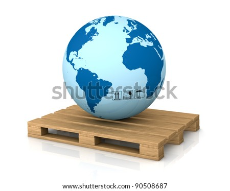 one world globe on a pallet; concept of shipping everywhere (3d render)