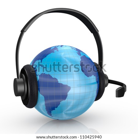 one world globe with headphones and mic, concept of global communications (3d render)