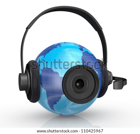 one world globe with headphones,mic and a webcam, concept of global communications (3d render)