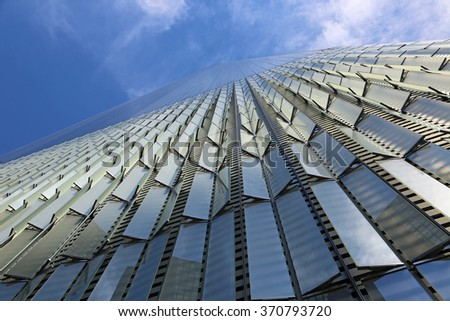 One World Trade Center - view from street level - New York City - stock photo