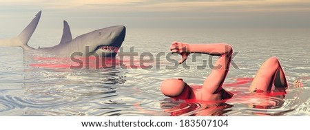 One wounded man trying to escape from shark attack in the ocean - stock photo