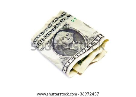 One wrinkled dollar isolated on white - stock photo