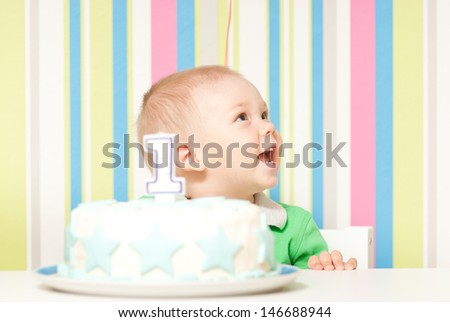 one year baby birthday party - stock photo