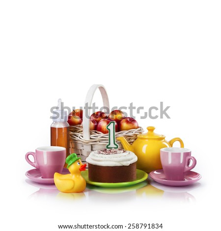 One year Birthday celebration with cake, isolated on white - stock photo
