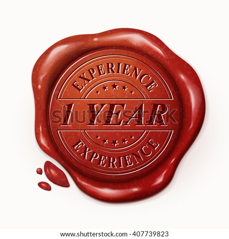 one year experience red wax seal over white background