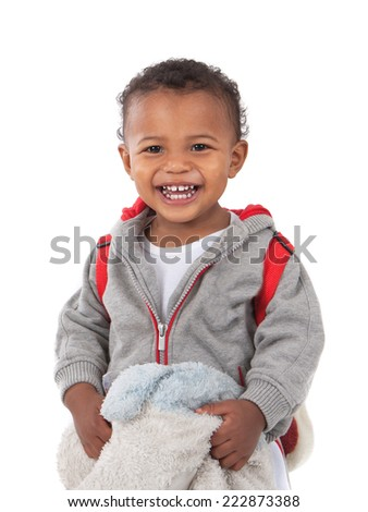 One Year Old Adorable African American Boy Laughing Holding Blanket and Carrying Backpack Isolated  on White Background - stock photo