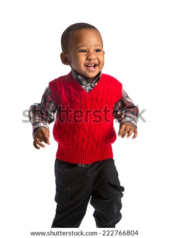 One Year Old Adorable African American Boy Running on Isolated White Background - stock photo