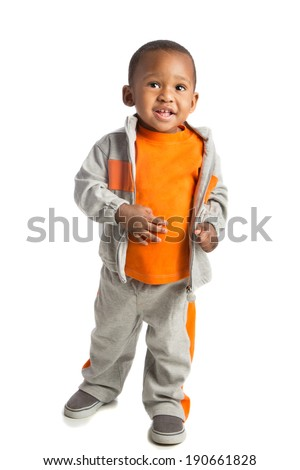 One Year Old Adorable African American Boy Standing Portrait on Isolated White Background