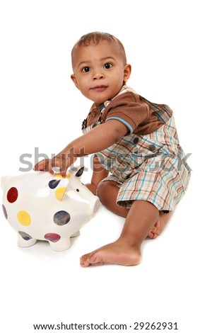 One Year Old Baby Boy Playing Piggy Bank Isolated - stock photo