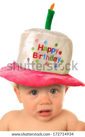 One year old baby girl with Happy Birthday hat.  - stock photo