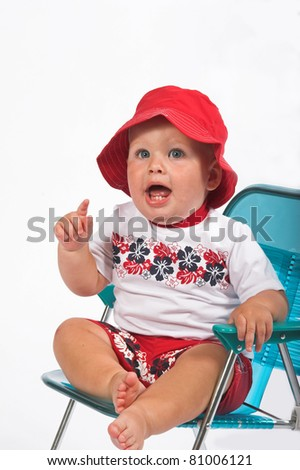 One year old boy learning to express him self, (isolated) - stock photo