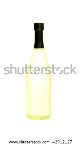 One yellow bottle of cold drink on white isolation