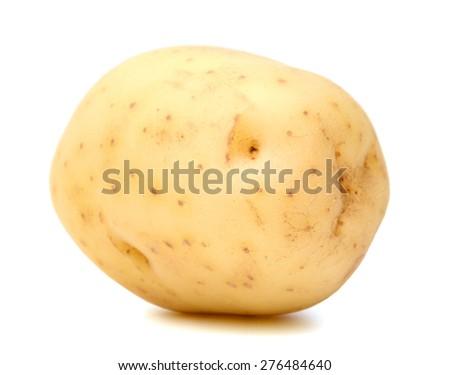 one yellow potato on white background  - stock photo