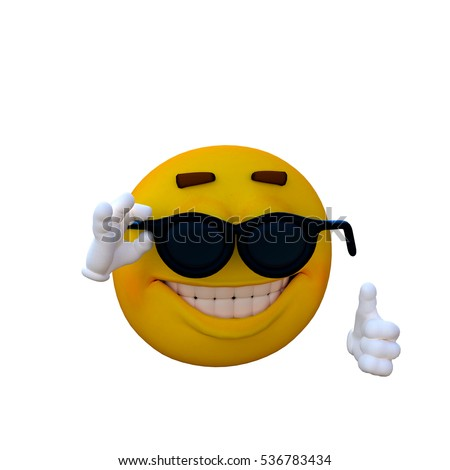 One yellow smiley. Hot. 3D rendering, 3D illustration