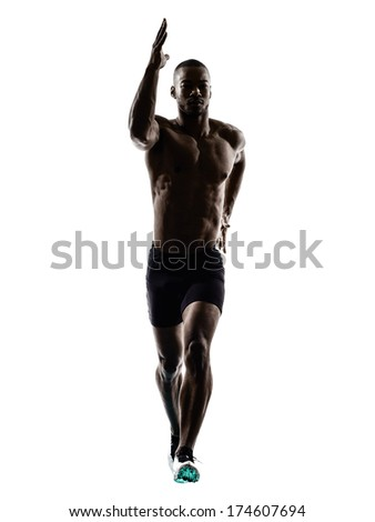 one young african muscular build man jumping running  silhouette  isolated on white background