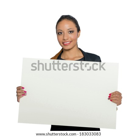 one young female latin attractive and beautiful make up smiling with placard