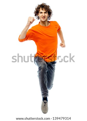 one young man caucasian running front view  in studio white background - stock photo