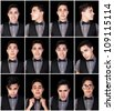 One young man, many faces.  Set of facial expressions. - stock photo