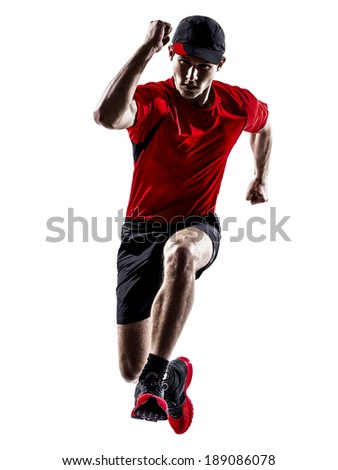 one young man runners joggers running jogging jumping in silhouettes isolated on white background