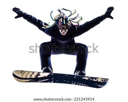 one  young snowboarder man in silhouette white background - stock photo