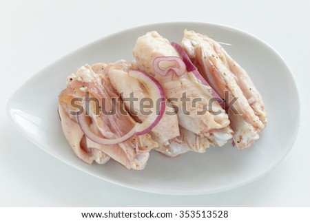 onion and black pepper marinated chicken wing for barbecue food image