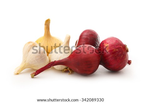 Onion and garlic in closeup isolated on the white background - stock photo