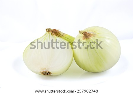 Onion and Two Half Chopped on White Background - stock photo