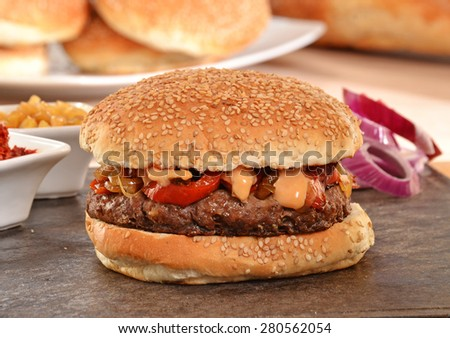 Onion burger and ingredients, - stock photo