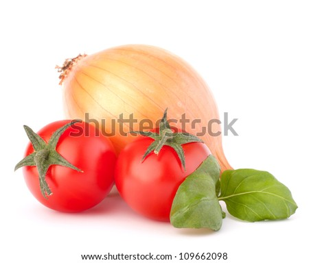 Onion, cherry tomato and basil herb leaves still life isolated on white background cutout