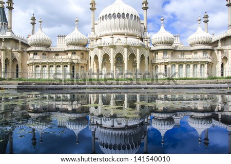 onion domes, towers and minarets forming the roof of the royal pavilion palace in brighton england, King George IV's summer house and Regency folly - stock photo