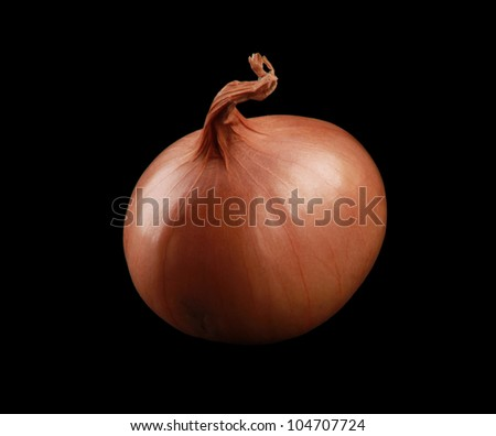 Onion isolated on black - stock photo