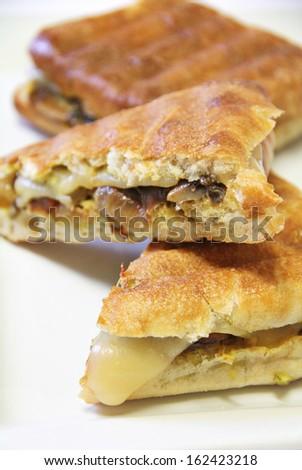 Onion mushroom swiss panini - stock photo