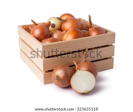 Onion on wood crate - stock photo