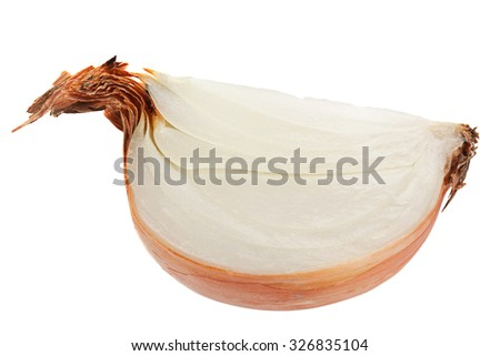 Onion slice closeup isolated on white - stock photo