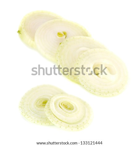 Onion sliced rings isolated on white - stock photo