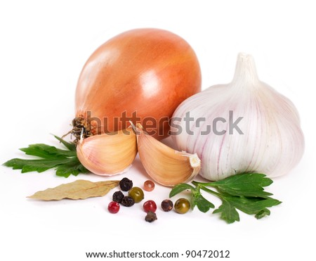 onion with garlic and spices isolated on white background