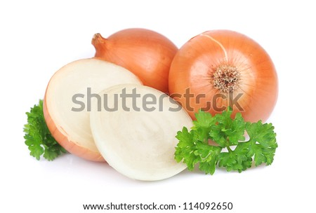 Onion with parsley on the white - stock photo