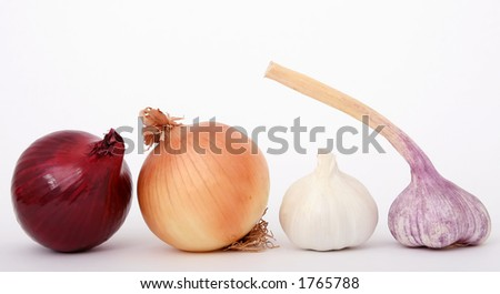 Onions and garlic isolated on white, - stock photo