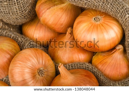 onions background with burlap sack