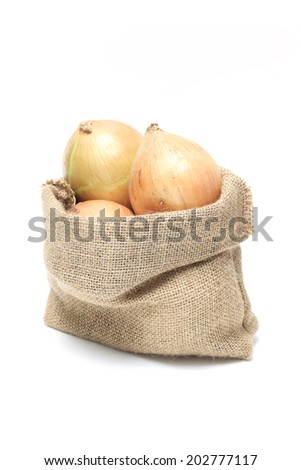 Onions in burlap sack, isolated on white background