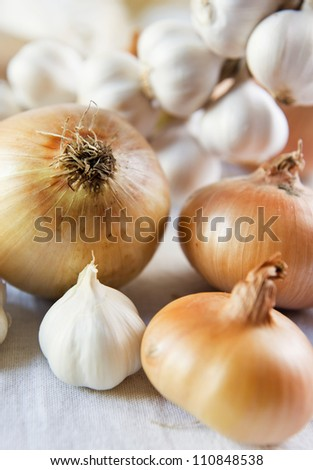 Onions on a kitchen rag