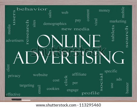 Online Advertising Word Cloud Concept on a Blackboard with great terms such as new media, social, click, sales, web and more. - stock photo