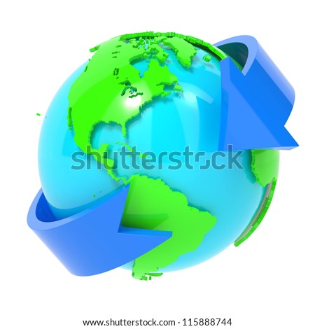 Online and Internet Concept Present By Blue Arrow Around The Blue World Isolated on White Background