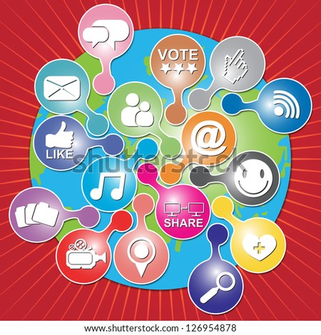 Online and Internet Social Network or Social Media Concept Present By The Earth With Group of Colorful Social Media or Social Network Icon in Red Shiny Background - stock photo