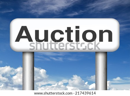 Online auction bid here and now. Buy and sell products real estate and cars or houses on the internet.  - stock photo