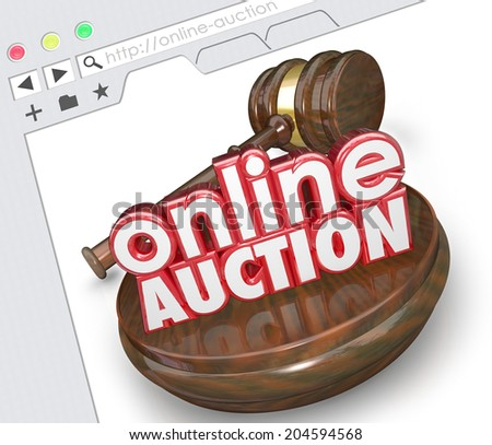Online Auction 3d words with wood gavel on a website screen or internet website  - stock photo