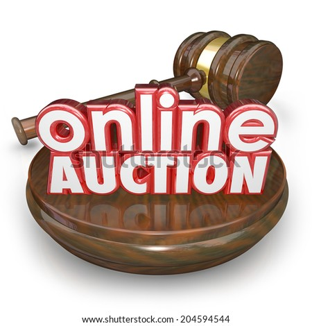 Online Auction 3d words wood block gavel closing bidding internet online website marketplace - stock photo