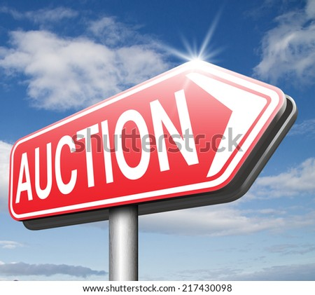 Online auction sign bid and buy here and now - stock photo