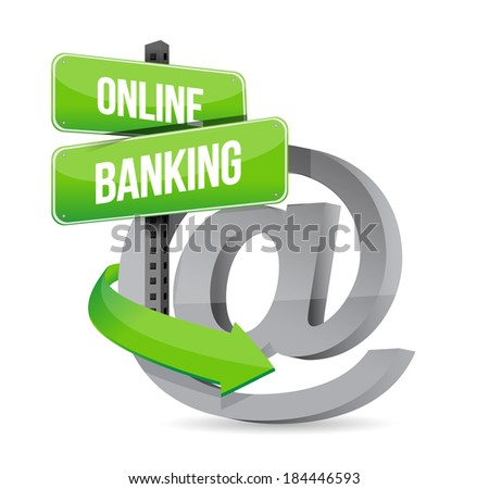 online banking at symbol sign illustration design over a white background